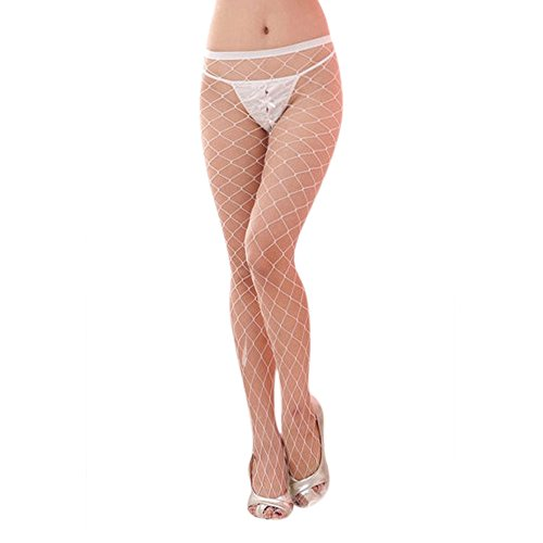 Caleen6 Women's Stockings Fishnets Big Socks Sexy Lingeries Exotic Apparel White (White Fishnets)