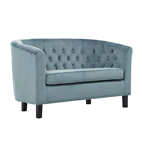 Modway  Prospect Velvet Upholstered Contemporary Modern Loveseat, Sea