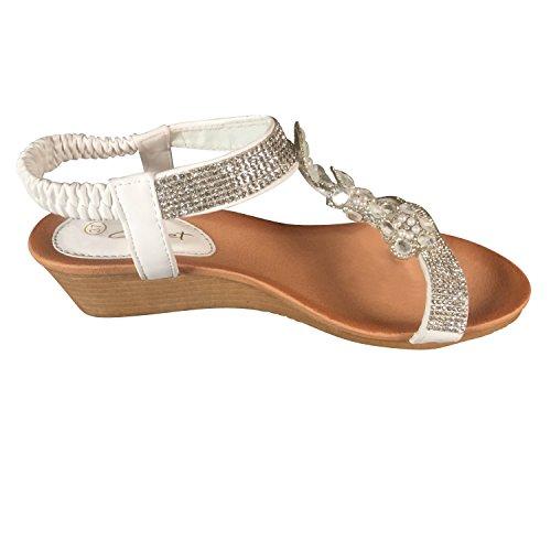 Wedge Sandaletten Weiß Blumen Keilabsatz Sandalen Riemchen ST600 Glitzer Damen Schuhtraum qZBUCXww