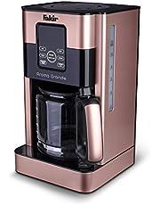 Fakir 9232001 Aroma Grande/kaffemaskin, filterkaffebryggare med glaskanna, medTouch-skärm, vattennivåindikator, upp till 12 koppar, rosé-1000 watt