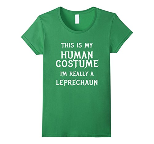 [Womens I'm Really a Leprechaun Halloween Shirt Funny Easy Costume Medium Grass] (Leprechaun Costume Female)