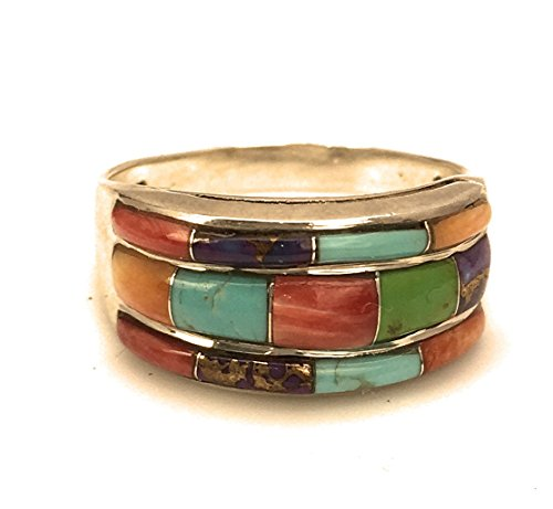 (Sterling Silver Ring Multicolor Inlay Turquoise, Made in USA - Exclusive Southwestern Handmade Jewelry, 7.5