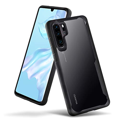 size 40 71023 abf32 Olixar for Huawei P30 Pro Bumper Case - Hard Tough Slim Cover - Clear Back  - Shock Protection - NovaShield - Wireless Charging Compatible - Black