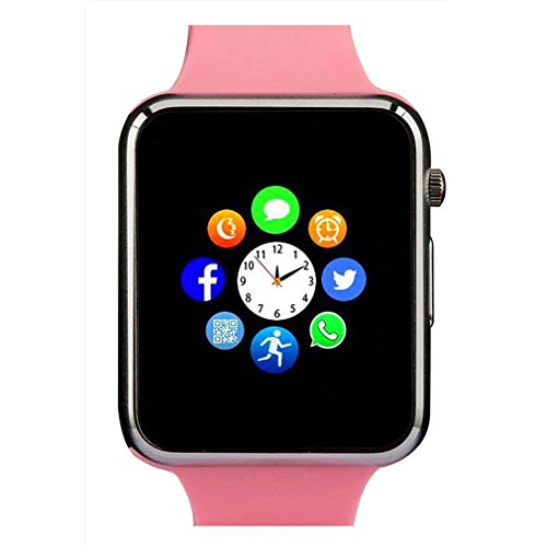Cheap Smart Watch Touch Screen, Qidoou Bluetooth Watch Camera SIM Card Pedometer Calories Tracker Call/Message Reminder Music Player Anti-Lost Compatible iOS iPhone Android Phones for Men Women Child(Pink)