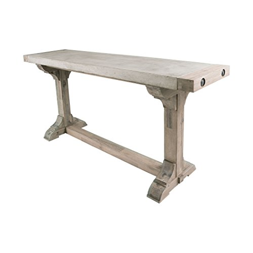 Manhattan Collection Pirate Concrete and Wood Console Table with Waxed Atlantic Finish