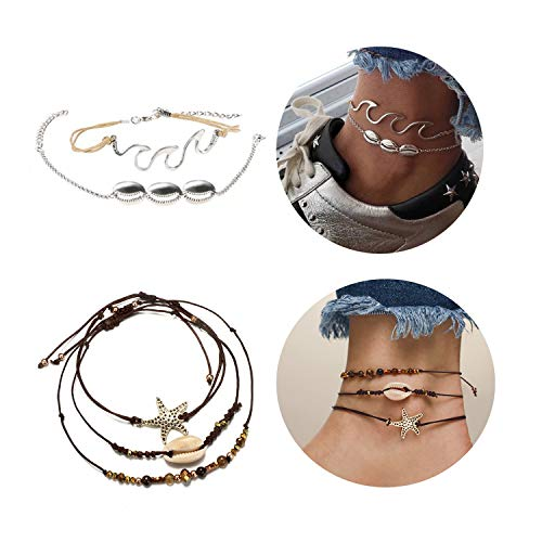 Dcfywl731 Black Leather Rope Women Anklets Shell Choker Necklace Imitation Pearl Cowrie Shell Anklets Bracelets Puka Shell Anklet Ocean Beach Summer Jewelry ((Starfish+Wave) Anklet