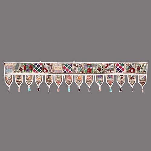 GANESHAM Cotton Ethnic Vintage Patchwork Door Hanging Valances Window Valances Hand Embroidered Patchwork Toran Boho Bohemian Decor Living Room Decor Wall Decor White, L-203 X W-50 cm