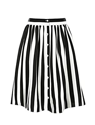 Allegra K Women's Striped Button Front Elastic Back Waist A Line Midi Skirt