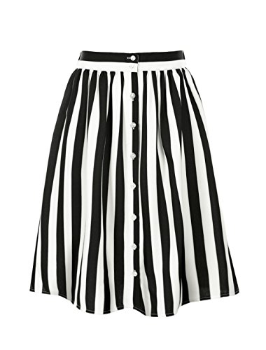 - Allegra K Women's Striped Button Front Elastic Back Waist A Line Midi Skirt Black X-Large