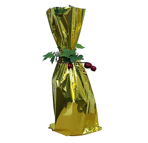 100 / Metallic Gold Mylar Bag - Wine Bottle Gift Bags, 6 1/2