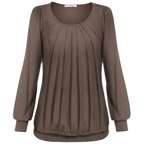 Meaneor Women's Casual Scoop Neck Long Sleeve Pleated