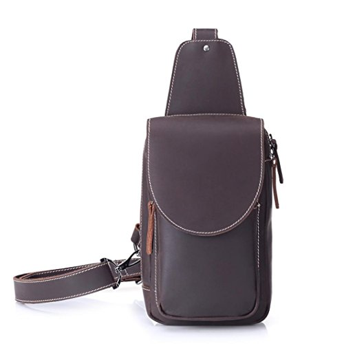 Sonmer Men Retro Crazy Horse Leather Chest Bag, Sports Messenger Bag by Sonmer