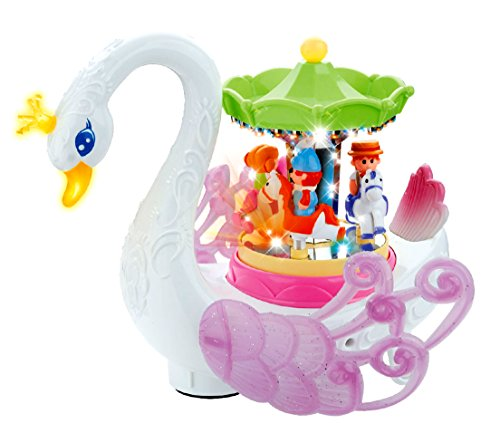 PowerTRC Musical Swan Rotating Carousel, Bump and Go Toy, Lights Pp and Makes Music ()