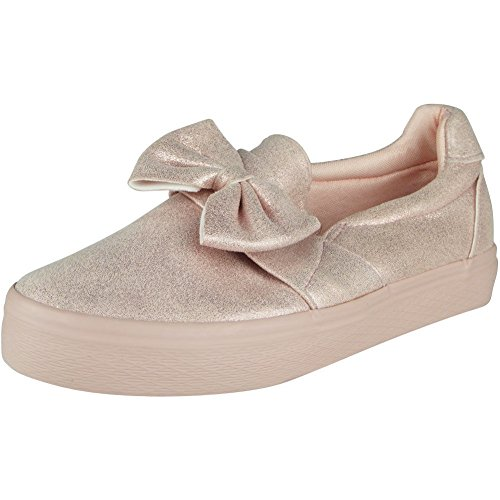 New Womens Ladies Trainers Shimmer Slip On Flat Bow Sneakers Pumps Shoes Size 3-8 Pink Shimmer JfQo4Ygi