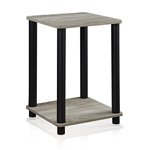 Oak Wide Side Table - Furinno 99800GYW/BK French Oak Turn-N-Tube End Table, Grey/Black
