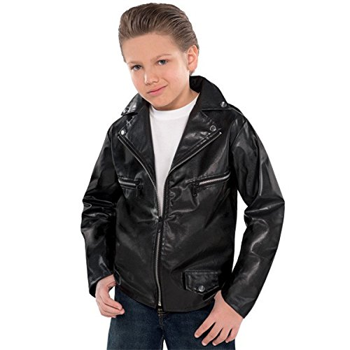 Fifties Greaser Costumes (Fabulous '50s Costume Party Greaser Jacket - Child Standard, Black, Faux Leather, 1-Piece)