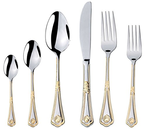 Venezia Collection 75-Piece Fine Flatware Set, Silverware Cutlery Dining Service for 12, Premium 18/10 Surgical Stainless Steel, 24K Gold-Plated (gold sets only) Hostess Serving Set (Seashell) ()