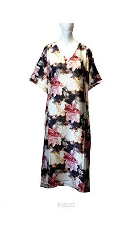 Damen 100% Polyester Woven Printed Silky Satin Long Kaftan. One Size Fit UK  10