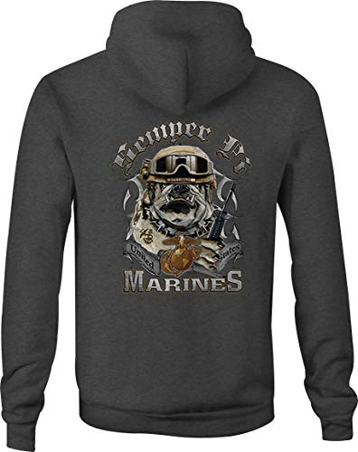 USMC Zip Up Hoodie Semper Fi Bulldog Hooded Sweatshirt for Men - XL Gray -