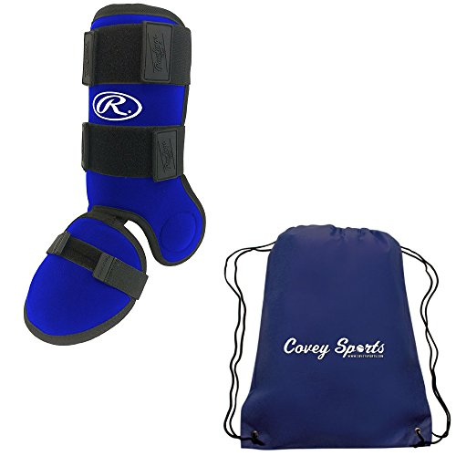 Rawlings Baseball Softball Batters Hitting or Batting Leg, Shin, Ankle Guard Protector (Blue) Bundled with Covey Sports Equipment Drawstring Bag (Baseball Ankle Guard)