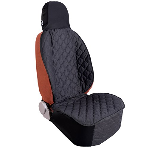 Acrabros Universal Fit Nonslip Waterproof Padded Quilted Convertible Hammock Dog Car Seat Covers with Extra Side Flaps, Black, 20