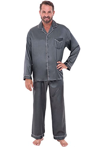 Alexander Del Rossa Mens Satin Pajamas, Long Button-Down Pj Set, XL Steel Grey (A0752STLXL) by Alexander Del Rossa