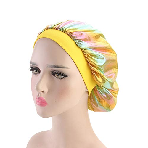 (Women Night Sleep Cap Glittery Elastic Wide Band Bonnet Chemo Hair Loss Turban(One Szie, Yellow))