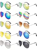 10 Pieces Metal Sunglasses for Mens Womens Metal Mirror Sun Glasses