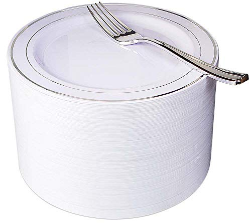 """NERVURE 102 Disposable Plastic 7.5"""" Cake Plates & 102 Silver Plastic Forks, Perfect for Salads, Desserts, Parties, Catering, Wedding Cakes (silver)"""