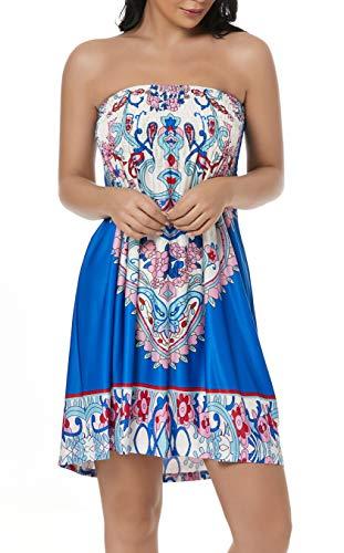 - Chicgal Women's Coverup Dress Bohemian Beach Dress Strapless Floral Print Cover-up Dresses (Cowboy L)