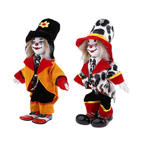DYNWAVE 2pcs 18cm Porcelain Clown Doll with Beautiful Outfit and Ceramic Face, Gift for Clown Lover or Doll Collector, Halloween Props, Home Office Decor ()
