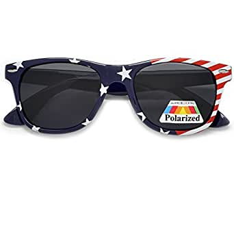 Polarized Vintage USA American Flag Classic Patriotic Wayfarer Sunglasses (Blue)*FREE Limited Edition US Flag Pouch Included