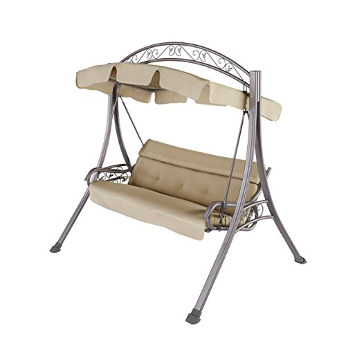 CorLiving PNT-803-S Nantucket Patio Swing with Arched Canopy in Beige