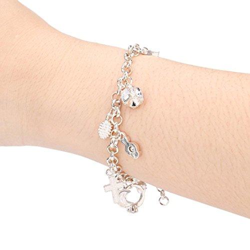 (Pendant Bracelet for Women, Sacow Fashion Lady Girl Charm Silver Plated Pendant Bracelet)
