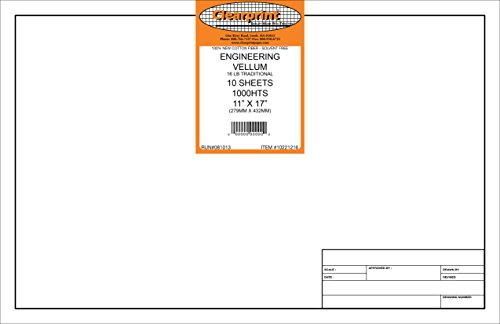 Clearprint 1000H Design Vellum Sheets with Engineer Title Block, 16 lb., 100% Cotton, 11 x 17 Inches, 10 Sheets Per Pack, Translucent White (10221216)