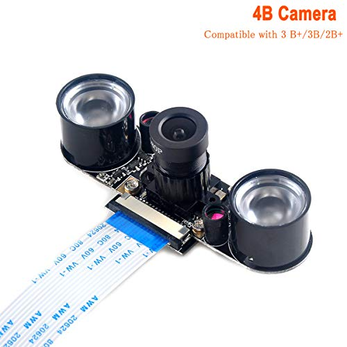 MakerFocus Raspberry Pi 4 Camera Night Vision Camera Adjustable-Focus Module 5MP OV5647 Webcam Video 1080p Compatible with Raspberry 3 B+/3B/2B+
