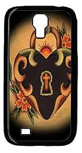 Heart Lock Custom Samsung Galaxy I9500/Samsung Galaxy S4 Case Cover Polycarbonate Black