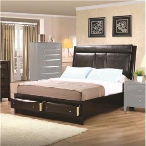 Coaster Phoenix 200419QSET 5 PC Bedroom Set with Queen Size Platform Bed + Dresser + Mirror + Chest + Nightstand in - Chest Bed Phoenix