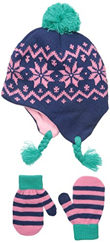 Nolan Gloves Big Girls' Dahlia Geometric Snowflake Set, Navy, 2-4T