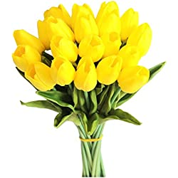 "Mandy's Yellow tulip 14"" artificial flowers 20pcs real touch for Wedding home & kitchen nearly natural PU vase not include"