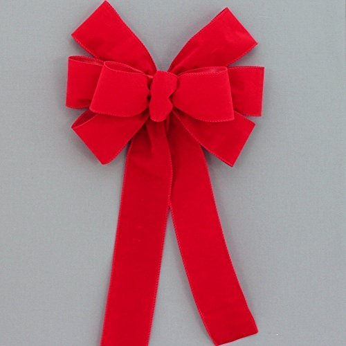 (Red Wire Edge Outdoor Christmas Bow - 10