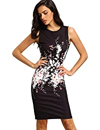 Women's Floral Print Sleeveless Split Cocktail Party Bodycon Dress