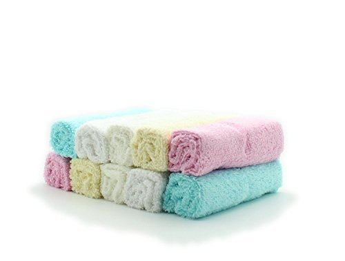 Super Baby Washcloth / Wipes 10 Pack, Cotton Terry, Soft, Larger 9''x9'' Size Assorted Children's Bath Towels by Omega