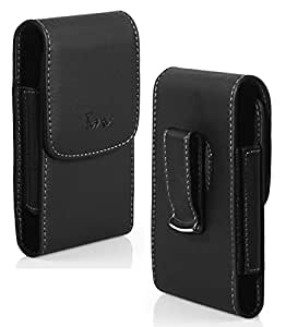 For Motorola Moto G (2nd Gen) Moto G (2014), Moto G2 Belt Clip Holster Case [Vertical Leather] Carrying Pouch Cover [Magnetic Closure] [Swivel Belt Clip] (Fits With Lifeproof Case / Waterproof / Ballistic / Shockproof Case On) - Black-Sold By MechSoft