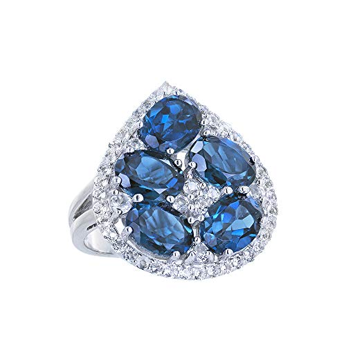 Robert Manse Designs Gem RoManse Rhodium Plated Sterling Silver Pear Shaped Gemstone Ring with White Topaz Frame (8, London-Blue-Topaz) -