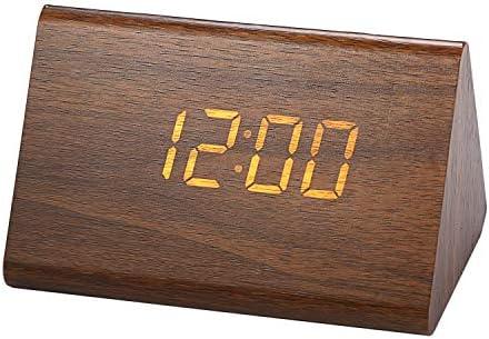 置き時計 目覚まし時計 ウッド調 LED木目調デジタル置時計 掛け時計 Lancardo アラーム 時刻 日付 USB対応 12H/24H可能 おしゃれ メンズ&レディース 誕生日 (ブラウン)