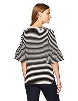 Amazon Brand - Lark & Ro Women's Three Quarter Bell Sleeve Boatneck Top