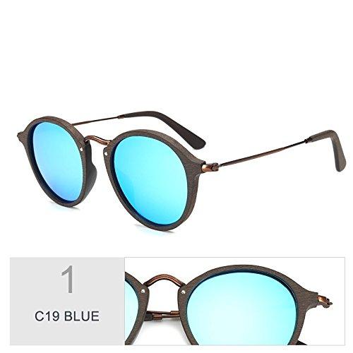 Gafas C19 Uv400 Unisex De Polarizadas BLUE Redondas Gafas Azul C19 Madera Sol De TIANLIANG04 Similares xqwYS0EYO