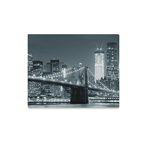 INTERESTPRINT NYC New York City Brooklyn Bridge with Downtown Skyline Canvas Prints Wall Art Stretched and Framed Abstract Canvas Paintings for Wall and Home Decor, 20