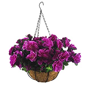 Mynse Artificial Flower Hanging Basket for Home Market Outdoor Decoration Hanging Silk Flowers Basket with Artificial Azalea Flowers Purple (Big Basket and Artificial Flowers)